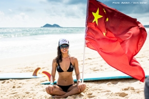 China's first female surfer, Darci Liu